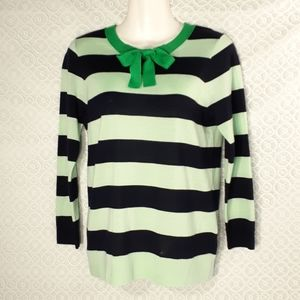 J Crew Tipi Tie Neck Merino Wool Striped Sweater